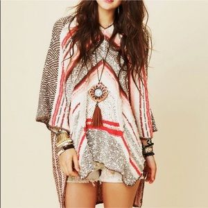 Free People Rising Tides Hooded Poncho XS/S NWOT